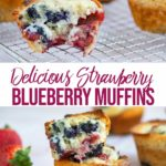 strawberry blueberry muffins on a wire rack