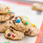 Brown Butter Oat & M&M Cookies baked and stacked on top of each other