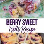 berry sweet rolls recipe on a blue plate