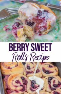 berry sweet rolls recipe on a blue plate