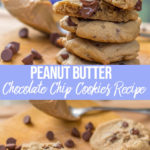 Peanut butter chocolate chunk cookies recipe served on a wood board