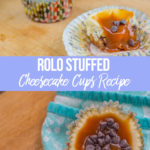 rolo stuffed cheesecake with caramel oozing out