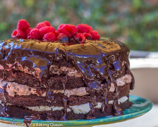 Close Up of Triple Chocolate Layer Cake sitting on a table outside