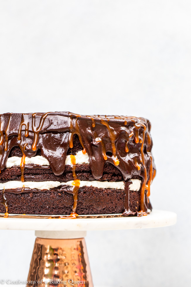 Salted Caramel Chocolate Cake Recipe served on a cake stand with a white bakground