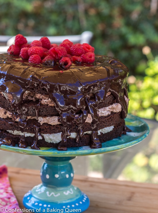 Triple Chocolate Layer Cake on a blue cake stand on a wood board outside