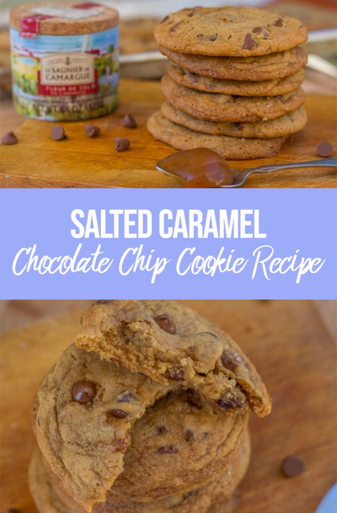 Salted Caramel Chocolate Chip Cookies stacked on top of each other on a wood board