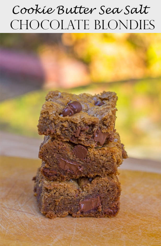 cookie butter sea salt chocolate chip blondies stacked on top of each other on a wood board