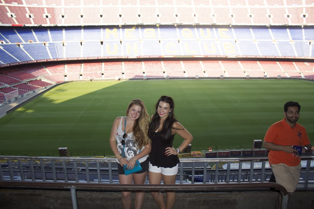 two girls in camp nou barcelona, spain