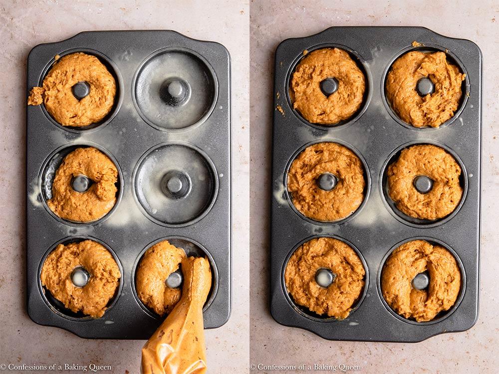pumpkin donut batter in a metal donut pan