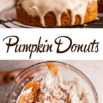 maple glazed pumpkin donuts on wire rack with a pumpkin in the background