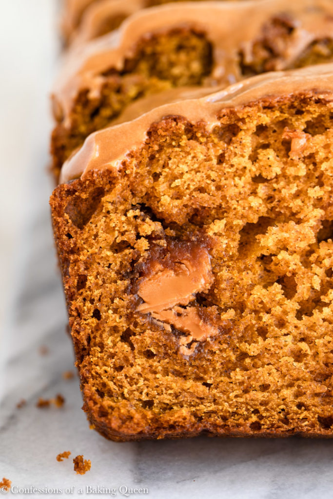 close up of cookie butter pumpkin bread