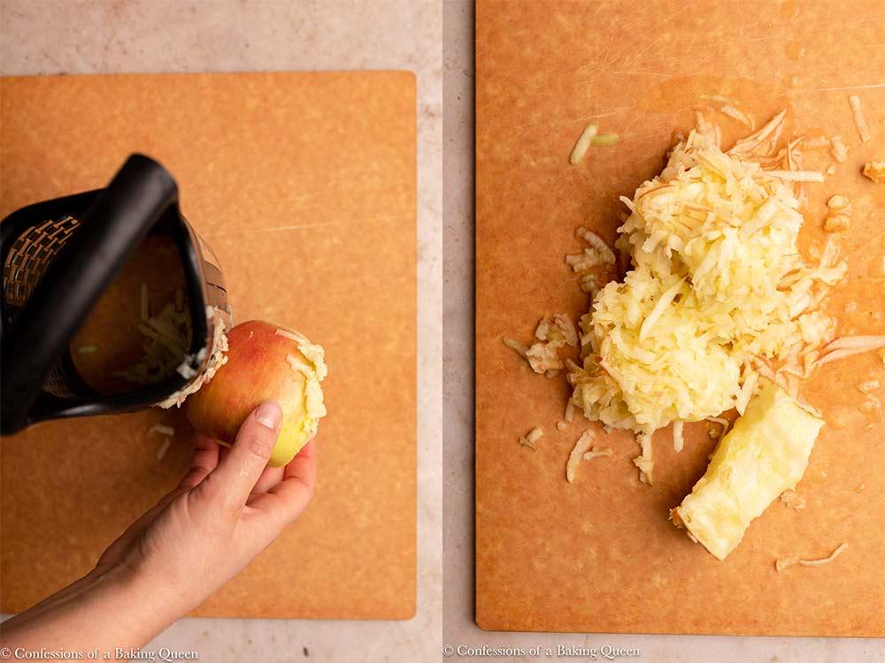 apple shredded on a cutting board