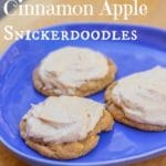 salted caramel cinnamon apple snickerdoodles on a blue plate on a wood board