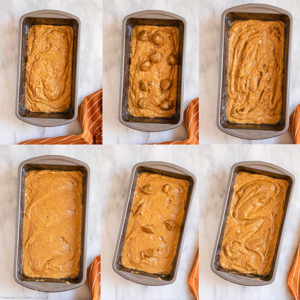 cookie butter swirled into pumpkin bread batter in a loaf pan