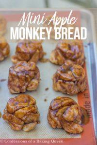 mini apple monkey breads on a baking sheet