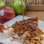 caramel dripping on to a slice of caramel apple upside down pie
