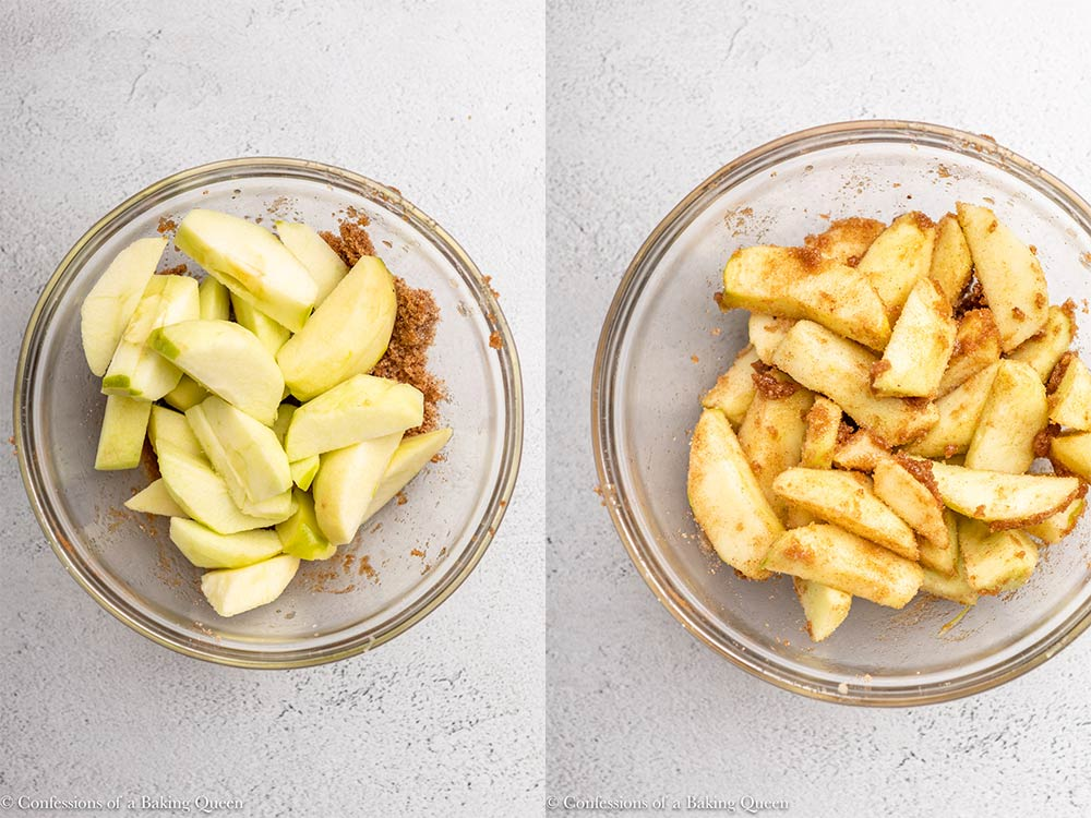 apple mixed with brown sugar and cinnamon in a glass bowl