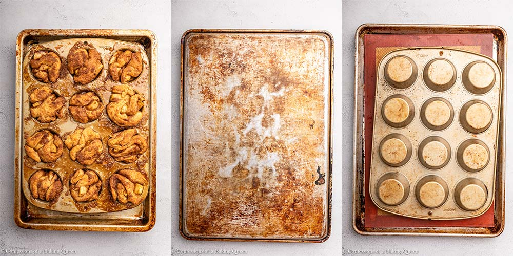 apple monkey bread muffins baked and inverted on to a sheet pan