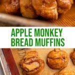 apple monkey bread muffins on a silpat lined sheet pan