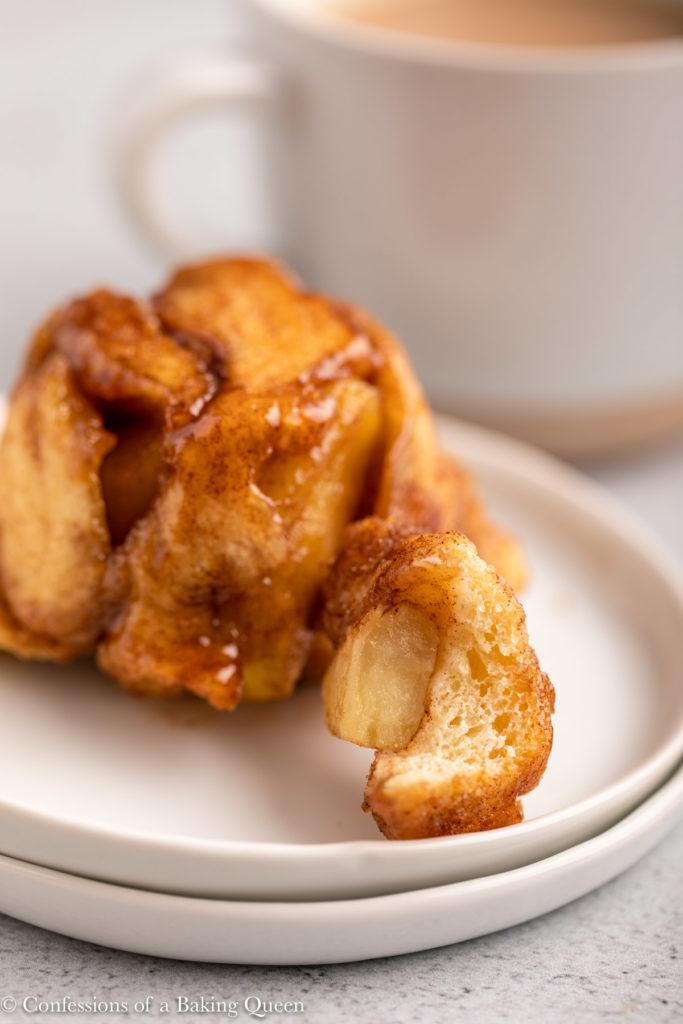 apple monkey bread on a white plate