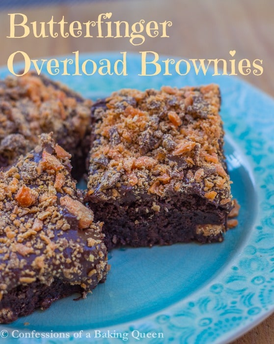 Butterfinger Overload Brownies www.confessionsofabakingqueen.com