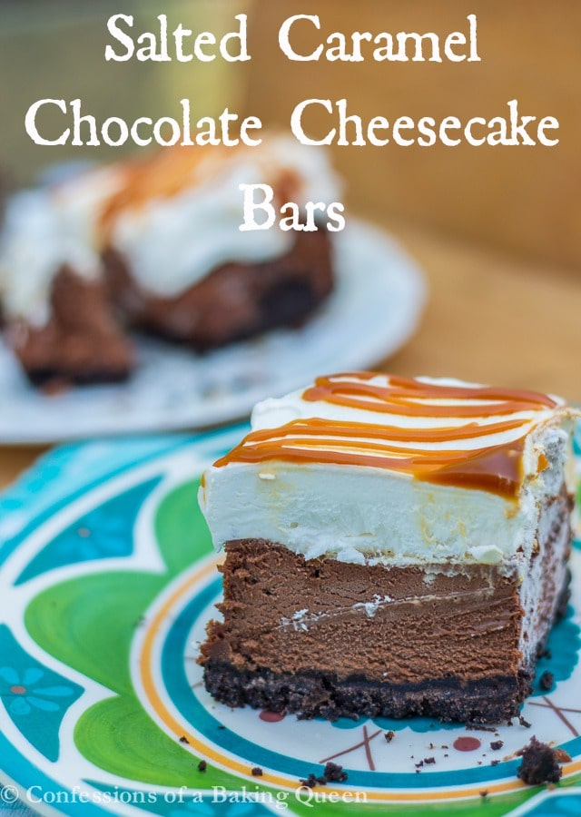Salted Caramel Chocolate Cheesecake Bars www.confessionsofabakingqueen.com