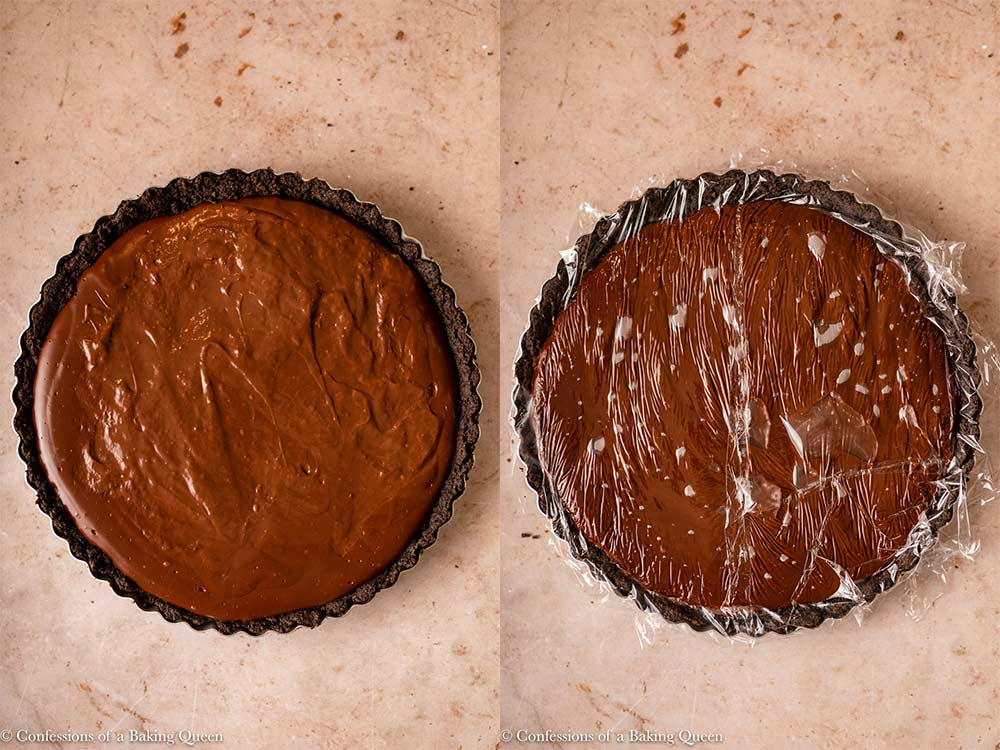 chocolate filling poured into tart shell then covered in plastic wrap on a light brown surface