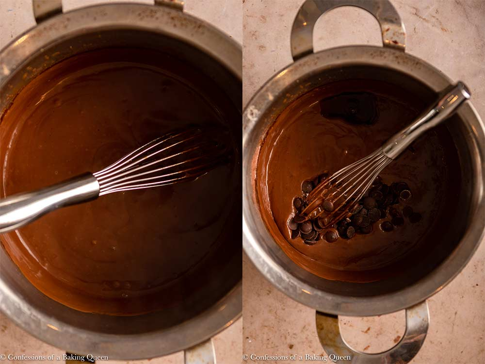 chocolate cream filling mixed in a metal pot with chocolate and vanilla added with a wire whisk on a light brown surface