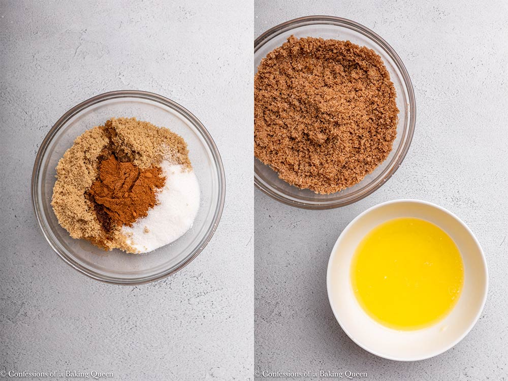 cinnamon sugar and vanilla mixed in a bowl next to a bowl of melted butter