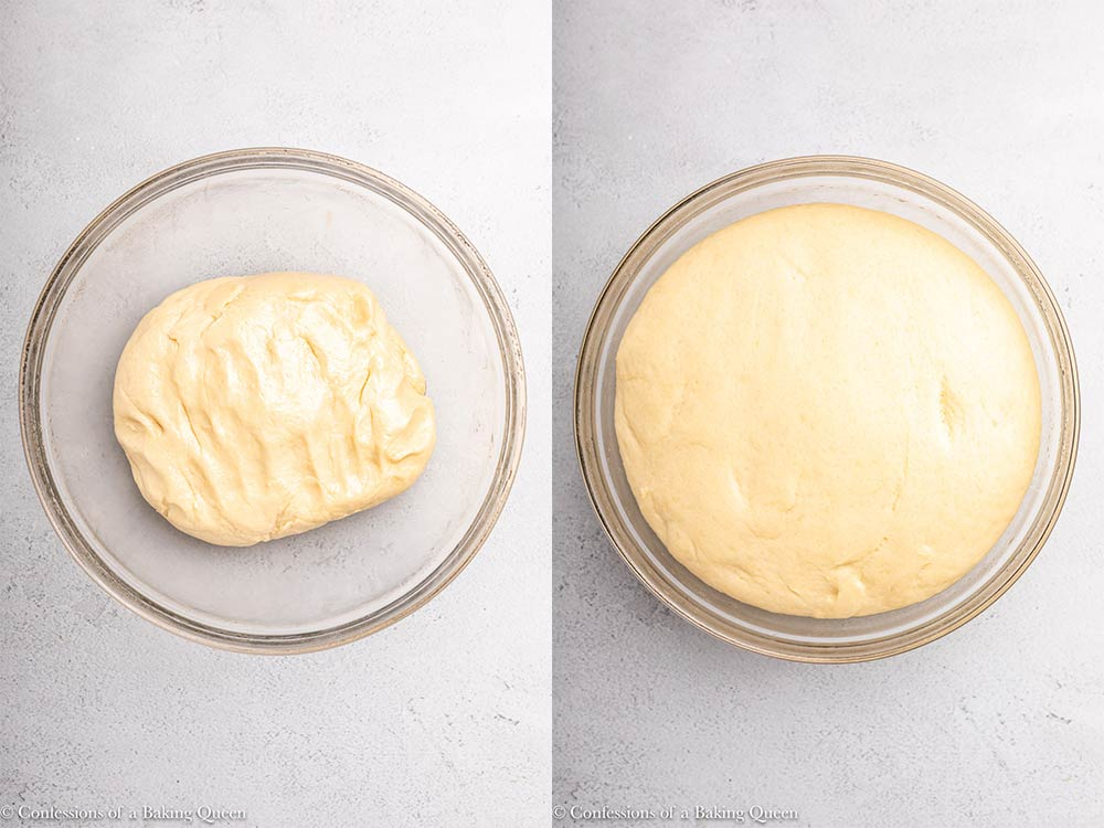 enriched dough before and after proofing