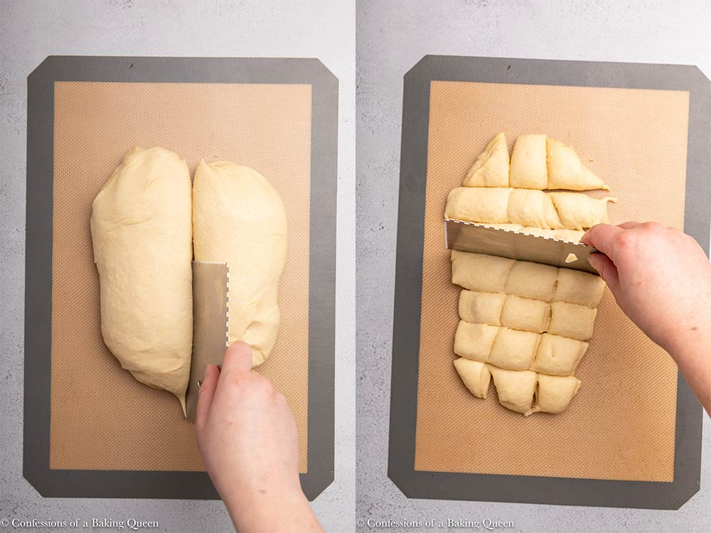 hand holding a scraper cutting enriched dough