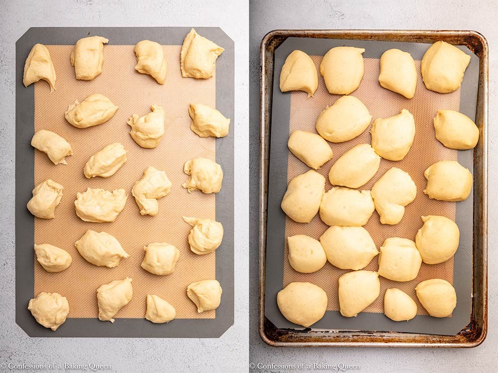 monkey bread dough bites before and after proofing