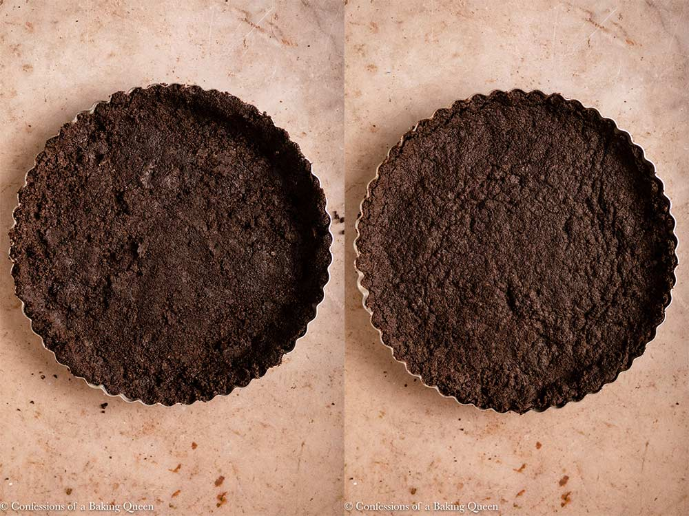 oreo cookie tart crust before and after baking on a light brown surface