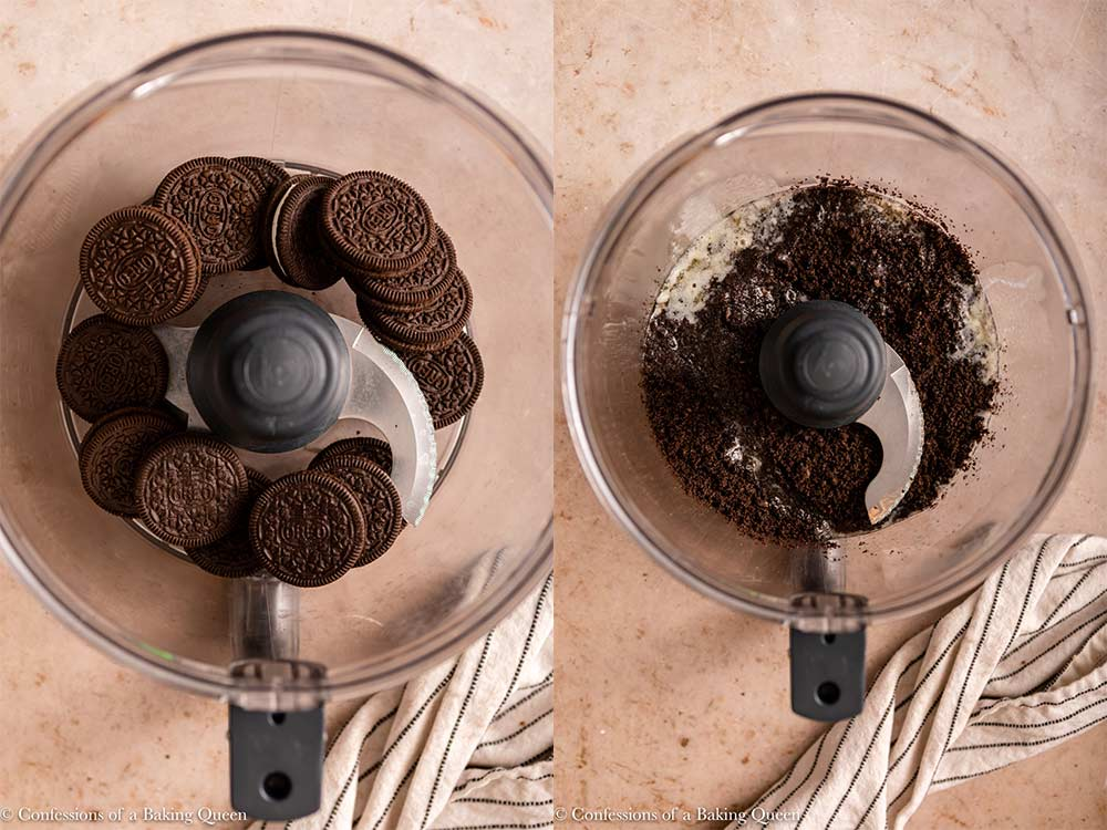 oreos crushed in a food processor with melted butter on a light brown surface next to a white and blue stripped linen