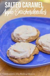 salted caramel apple snickerdoodles on a blue plate