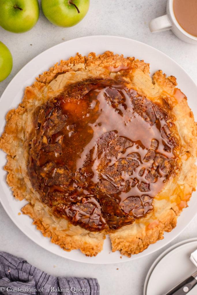 salted caramel upside down apple pie
