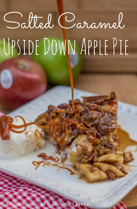 Salted Caramel Upside Down Apple Pie served on a white plate