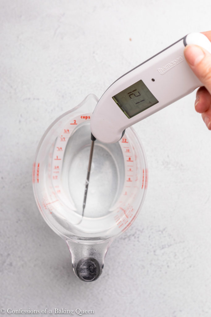 thermometer testing water temperature