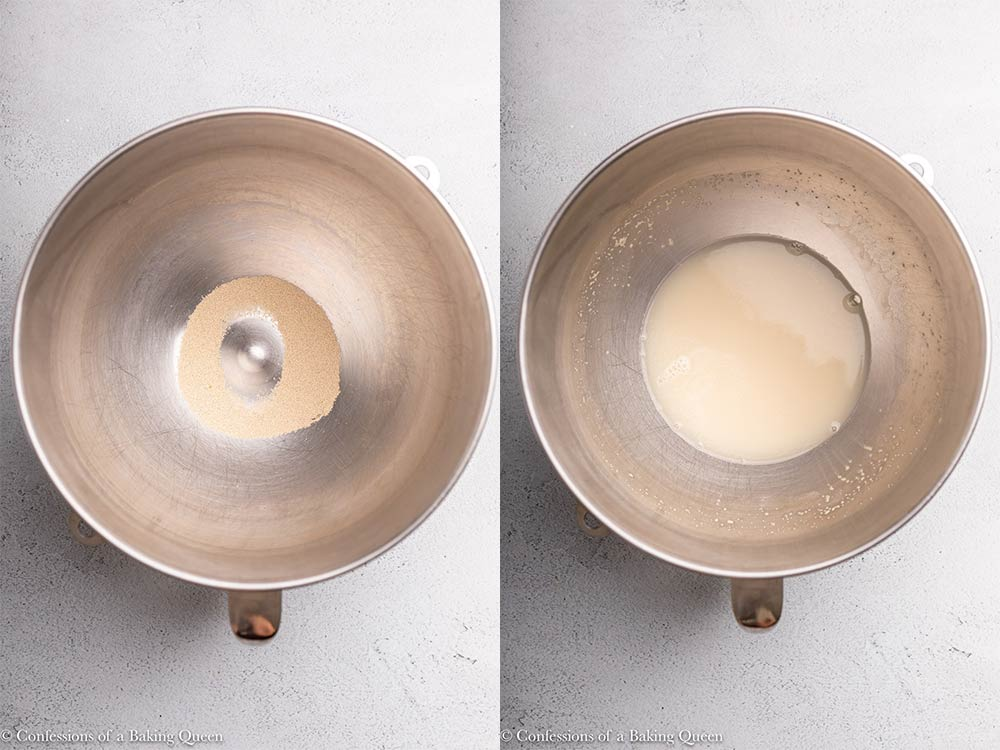 water being poured into a metal bowl with yeast in