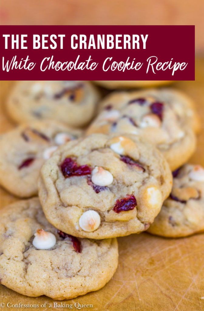 cranberry white chocolate cookies on a wood board