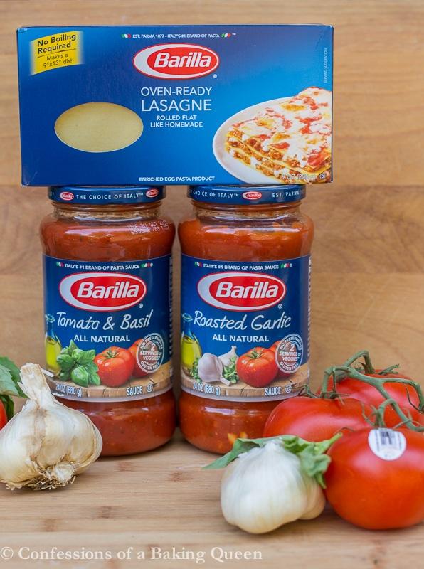Rosa Lasagna barilla sauce jars and barilla noodles with tomatoes and garlic