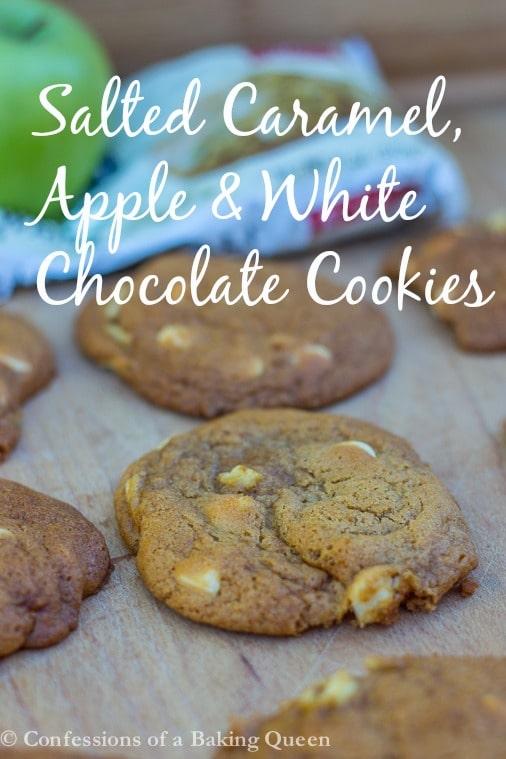 Salted Caramel Apple White Chocolate Cookies