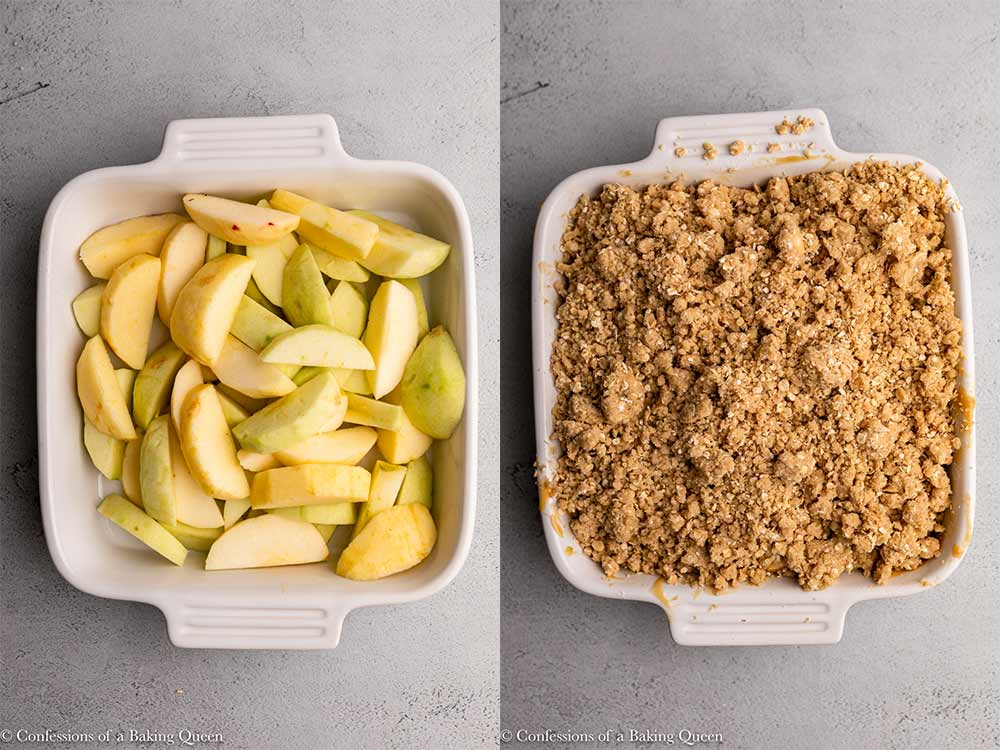 apples added to a white dish then crumble added on top sitting on a light grey surface