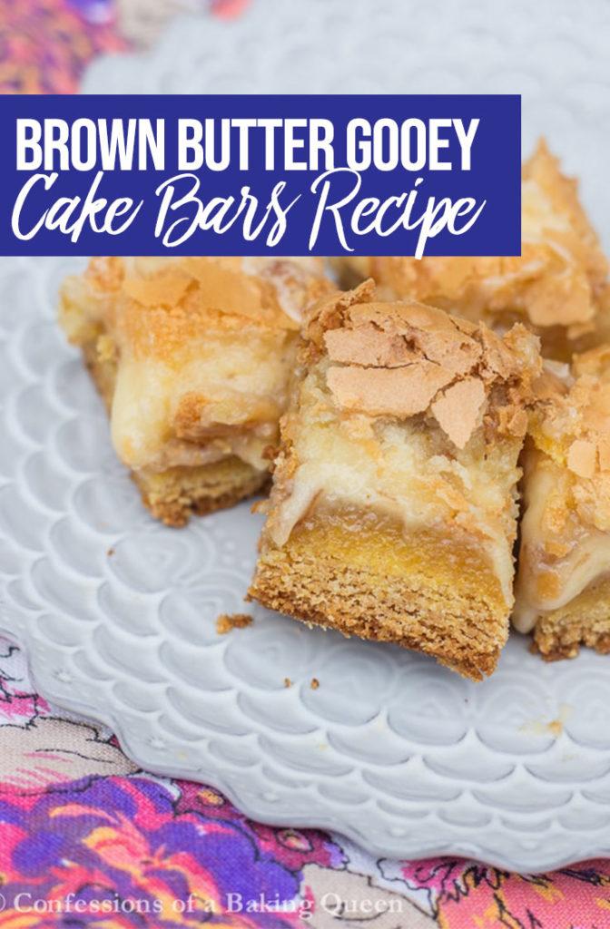 Brown Butter Gooey Cake Bars Recipe Pin
