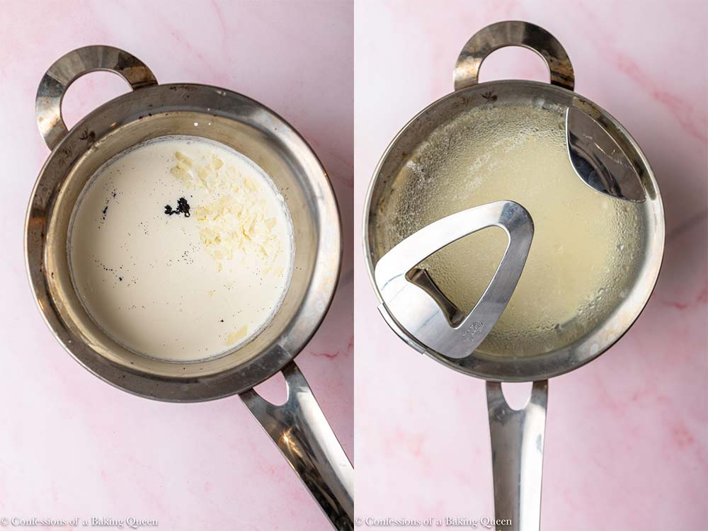 cream, vanilla beans, and white chocolate in a metal pot before cooking then steaming on a light pink surface
