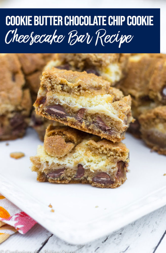 Cookie Butter Chocolate Chip Cheesecake Bars stacked on top of each other on a white plate