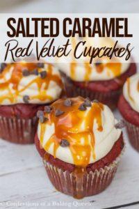 salted caramel red velvet cupcakes on white wood