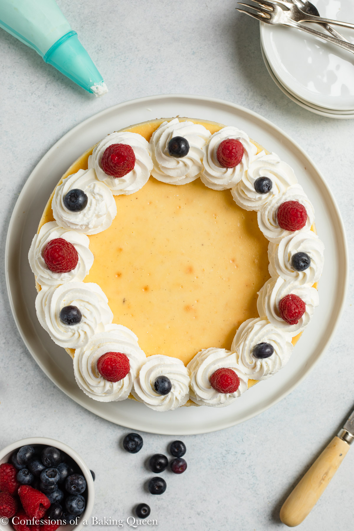 vanilla bean cheesecake with whipped cream and fresh berries