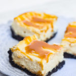 Caramel Cheesecake Bars on a purple plate