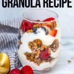 banana nut granola layered in between yogurt and berries